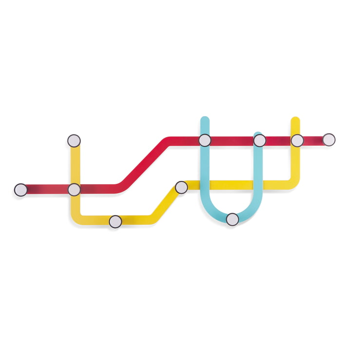 Umbra - Subway wall coat rack, multi-coloured