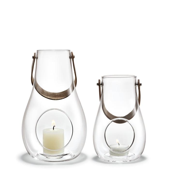 Holmegaard - Design with light lantern (set of 2), 16 cm + 25 cm