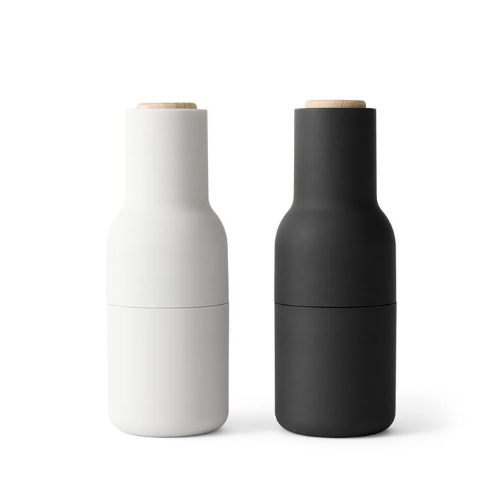 Bottle salt and pepper mills set from Menu in Ash / Carbon (wooden lid)