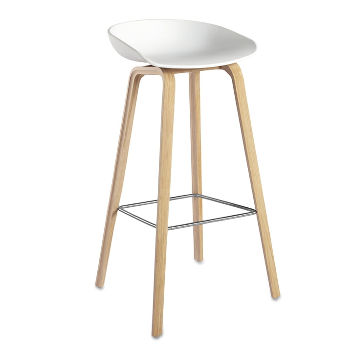 About A Stool AAS 32 H85 from Hay Frame oak (soaped) / seat shell white, plastic glides