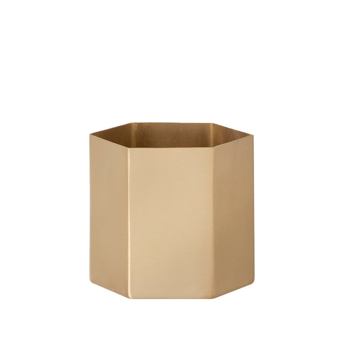 Hexagon Flowerpot Small by ferm Living made of Brass