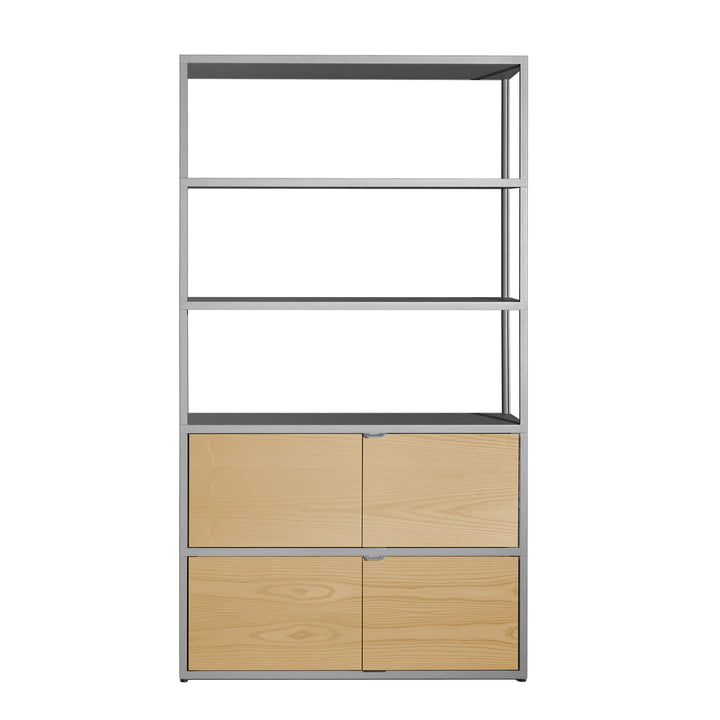 Hay - New Order Shelf, vertical, light grey with oak doors
