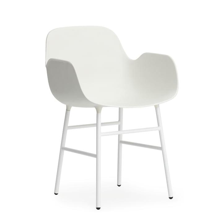 Normann Copenhagen - Form Armchair, Steel Legs, white