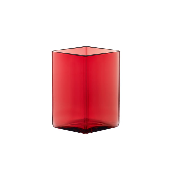 Ruutu Vase 115 x 140 mm from Iittala in Cranberry