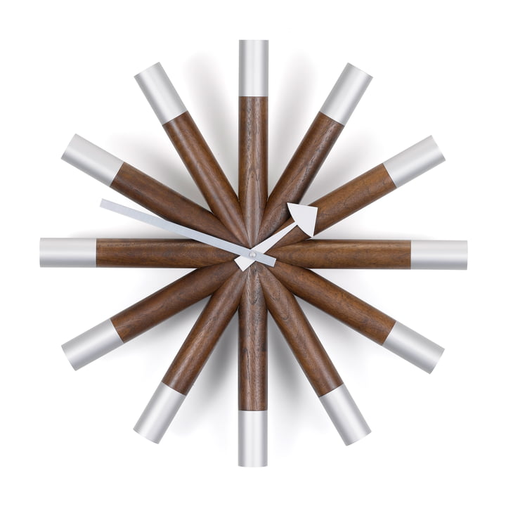 Vitra - Wheel Clock, walnut / aluminium