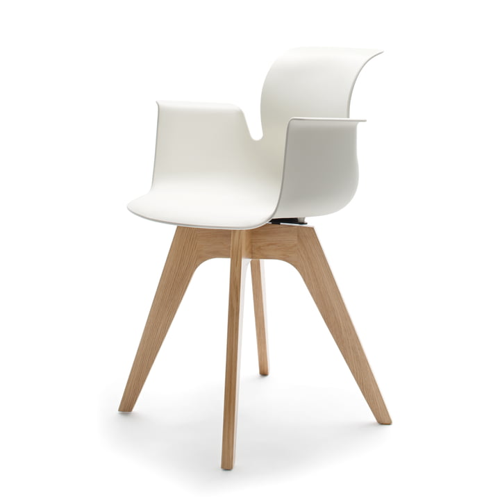 Flötotto - Pro 6 Armchair, four-star wooden frame, clear lacquered oak, white