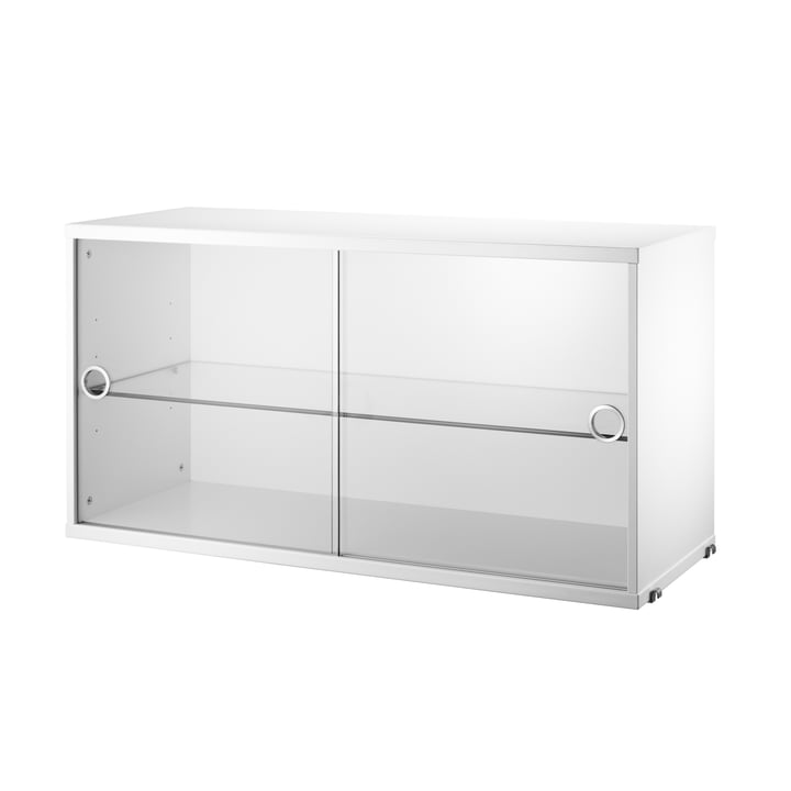 Cabinet with sliding glass doors 78 x 30 cm by String in white