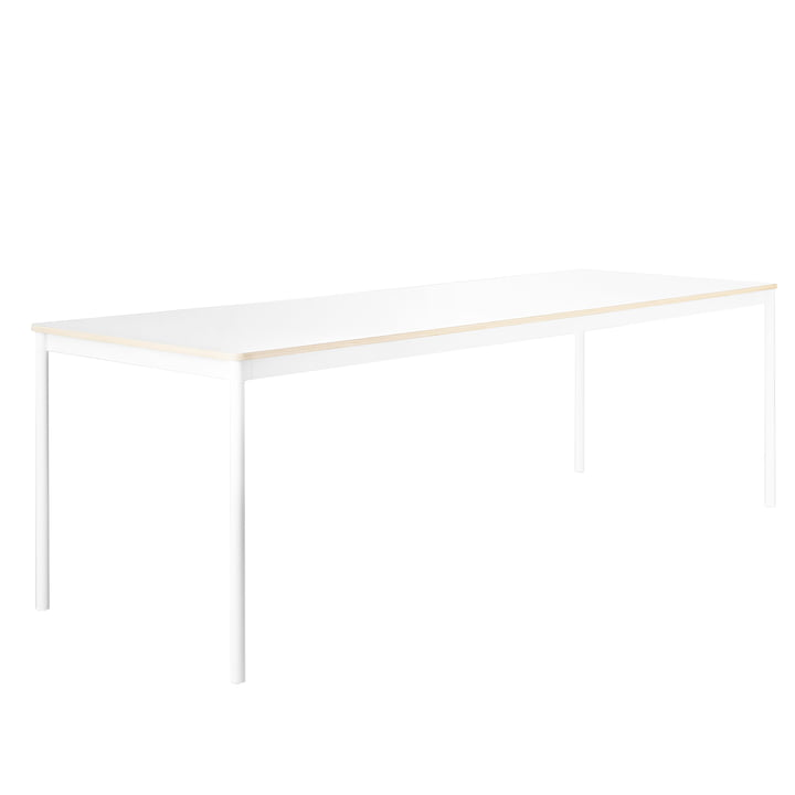 The Base Table, Frame: white, Table top: white with plywood edges by Muuto