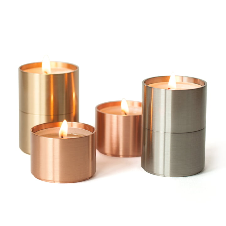 ArchitectMade - Trepas Six tea light holders, copper / brass / steel