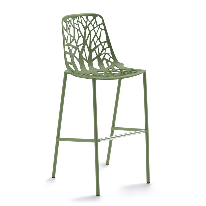Fast - Forest bar stool high with high backrest, khaki