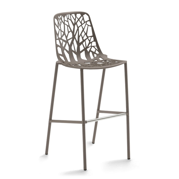 Fast - Forest bar stool high with high backrest, taupe