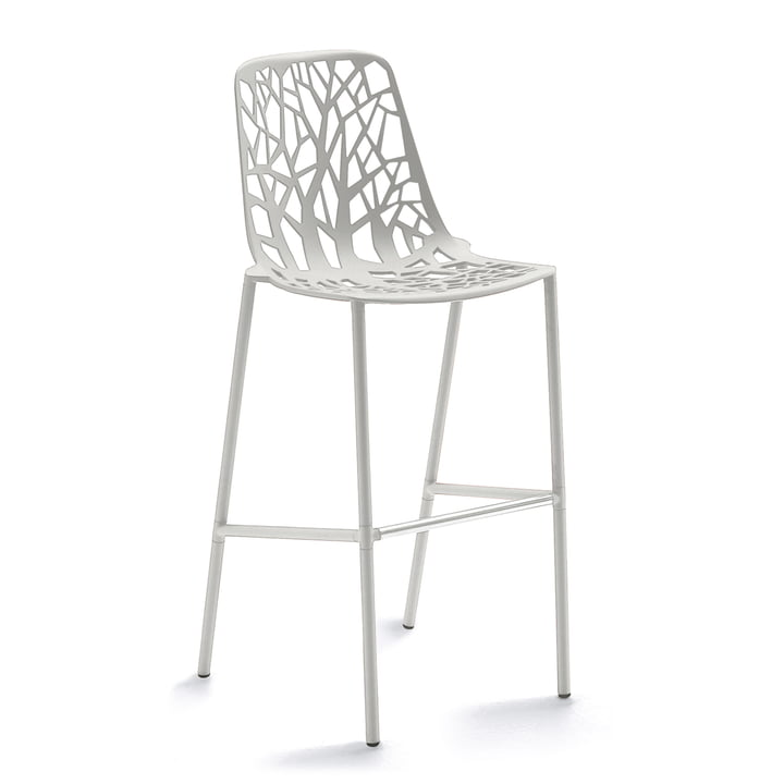 Forest Bar stool high with high backrest from Fast in white