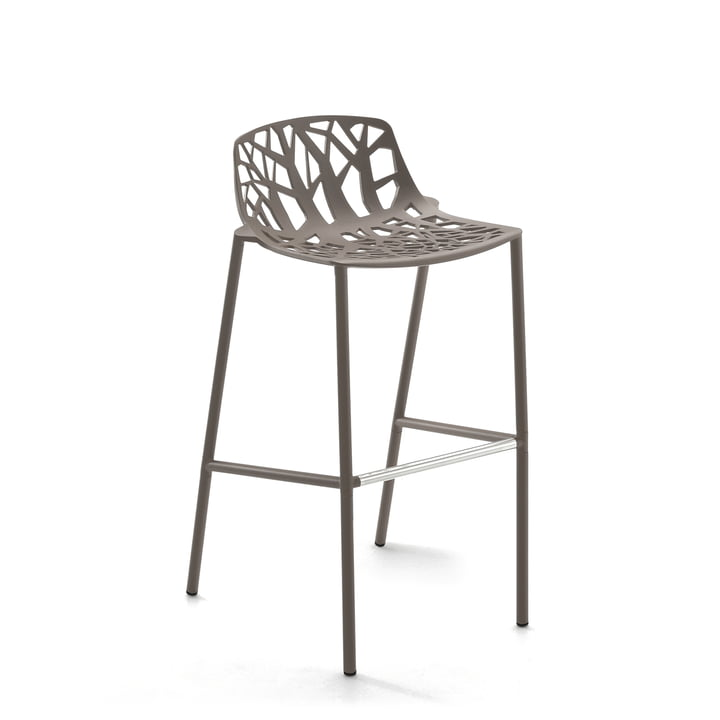 Fast - Forest bar stool high with low backrest, taupe