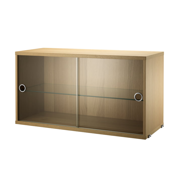 Cabinet with sliding glass doors 78 x 30 cm by String in oak