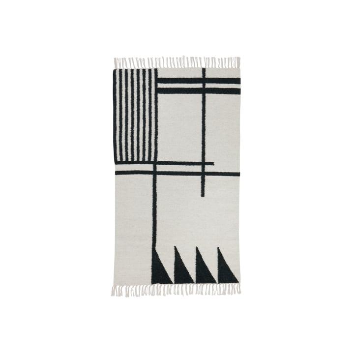 ferm living - Kelim Rug, black lines, small