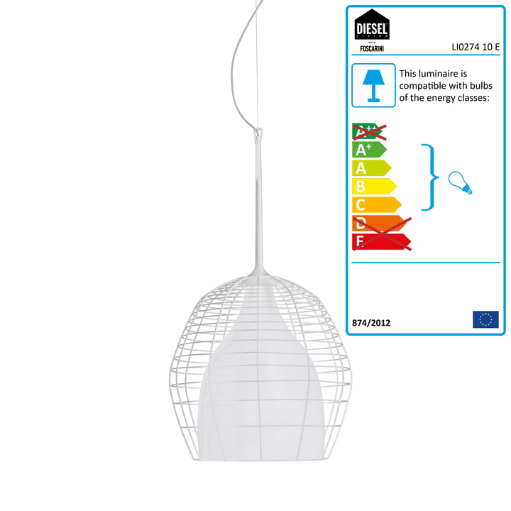 Diesel Living - Cage Pendant Light small, white / white