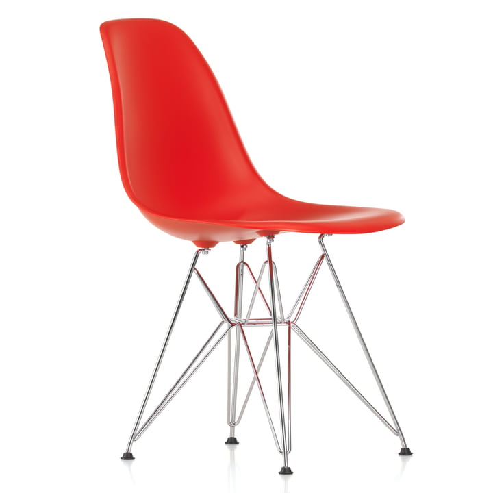 Vitra - Eames Plastic Side Chair DSR, chrome-plated / classic red, black felt pads