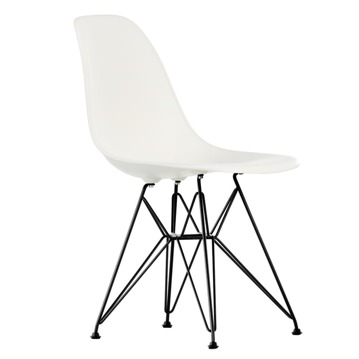 Eames Plastic Side Chair DSR by Vitra in basic dark / white