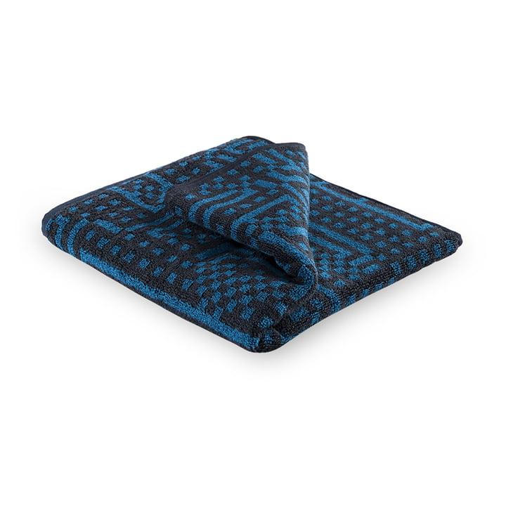Zuzunaga - Route Black and Dark Blue Towel, 50 × 100 cm