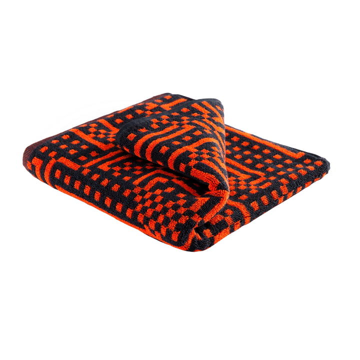 Zuzunaga - Route Black and Red Orange Towel, 50 × 100 cm