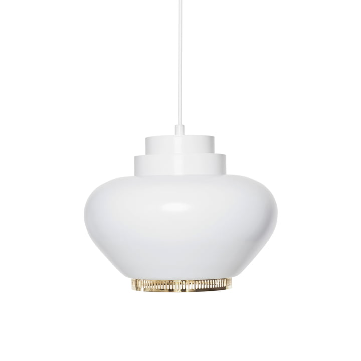 Artek - Pendant Lamp A333, white with brass ring