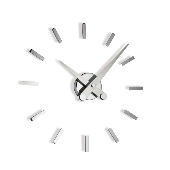 Puntos suspensivos wall clock by nomon with 12 hour markers made of chrome and steel