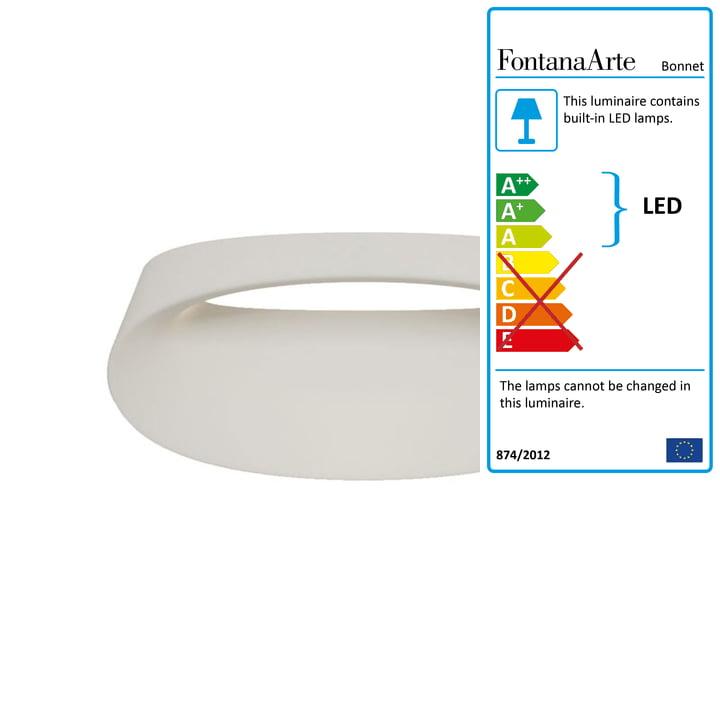 Bonnet wall lamp by FontanaArte in white