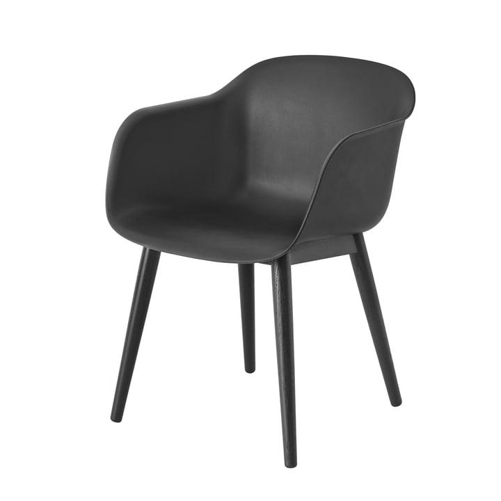 Muuto - Fiber Chair - Wood Base, black / black