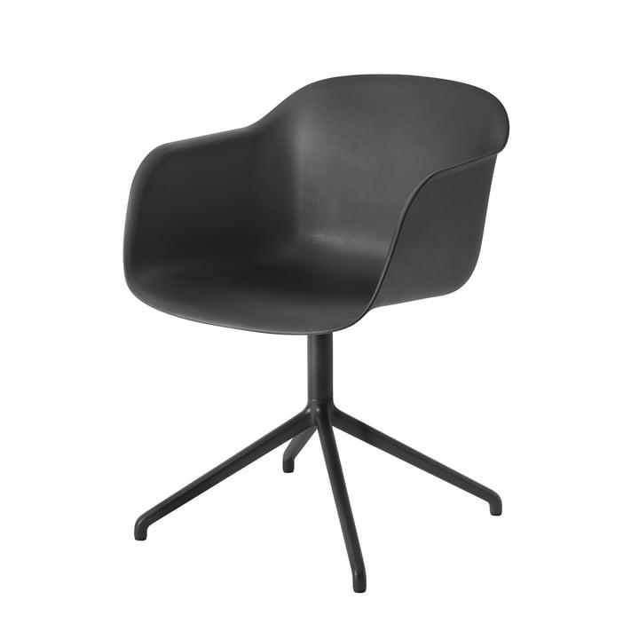 Muuto - Fiber Chair - Swivel Base, black / black