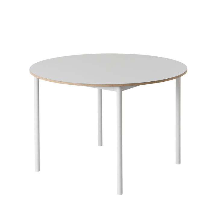 Muuto - Base Table Ø 110 cm in White with Plywood Edge