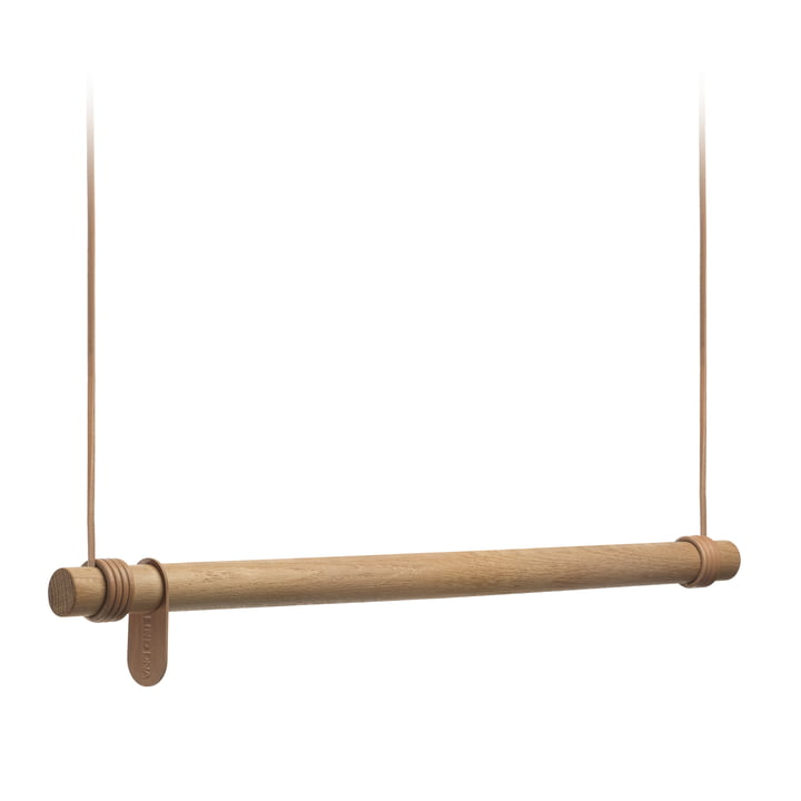 The Swing Coat Rail by LindDNA made of natural oak / natural leather