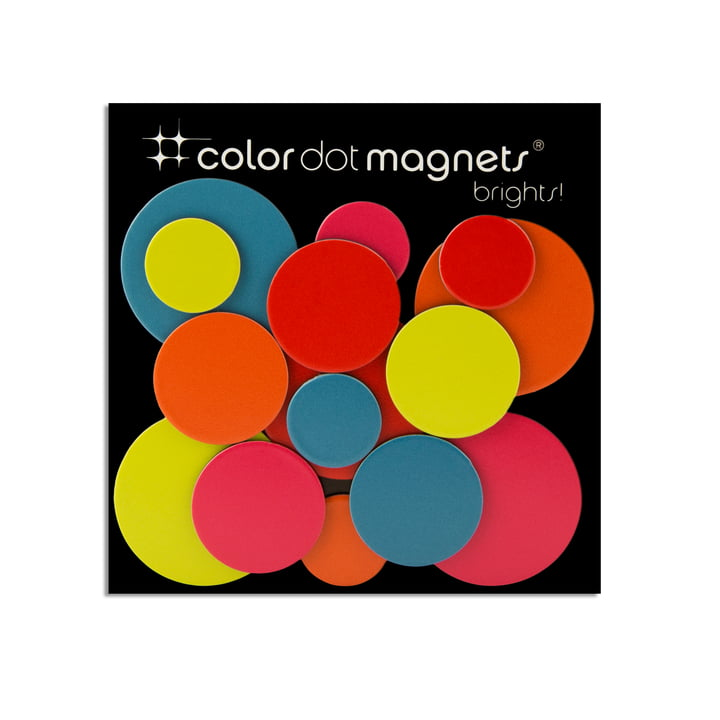 Color Dot magnets from ThreeByThree in a set of 15