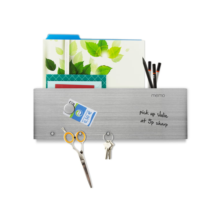 Writable magnetic strip with letter shelf and hooks