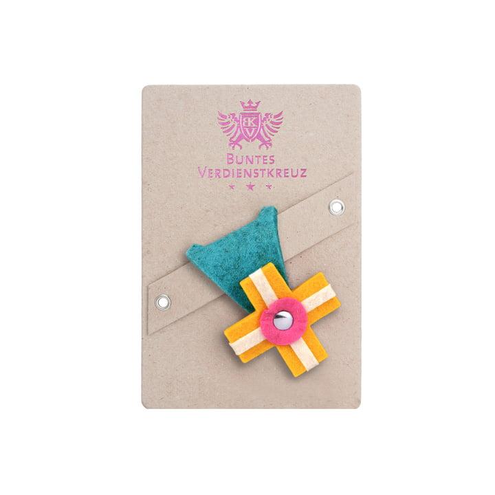 vonbox - Colourful cross of merit, lagune / yellow