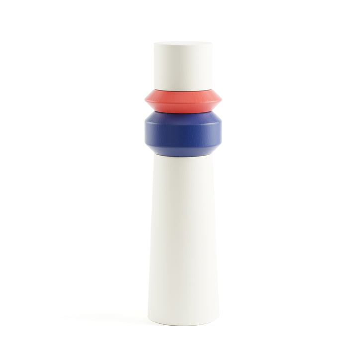 Totem Mill salt and pepper mill by Tylko in red, blue and white