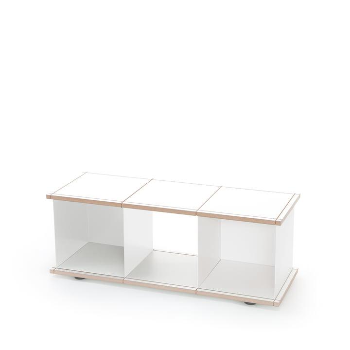 YU set 1 by Konstantin Slawinski made of MDF in white and brushed steel.