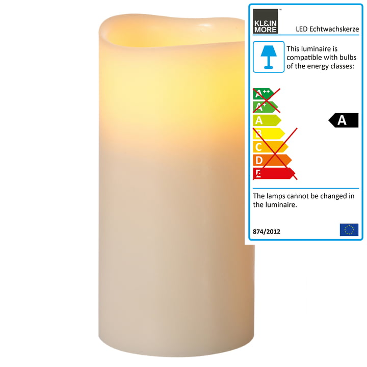 Klein & More - LED Real Wax Candle, ivory XL 2-4