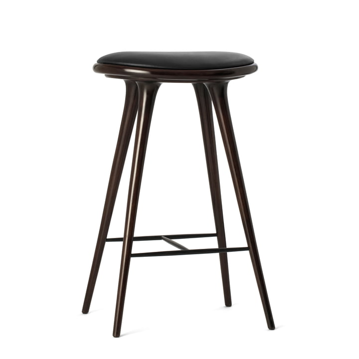 Barstool by Mater made from dark stained beech