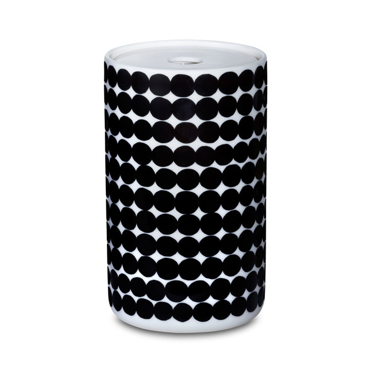 The Oiva Siirtolapuutarha storage glass in the size 1300 ml in white / black