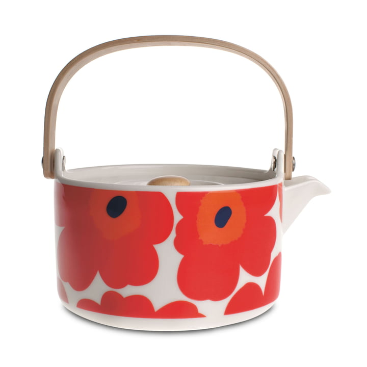 The Oiva Unikko Teapot by Marimekko in white / red