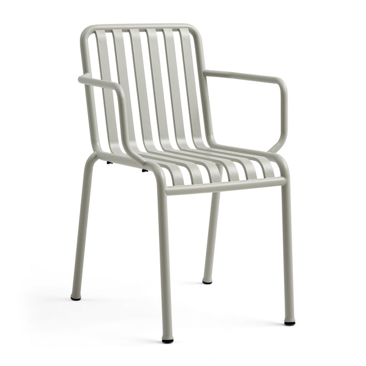 The Hay Palissade armrest chair in light grey