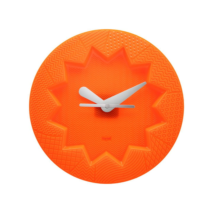Crystal Palace wall clock by Kartell in orange