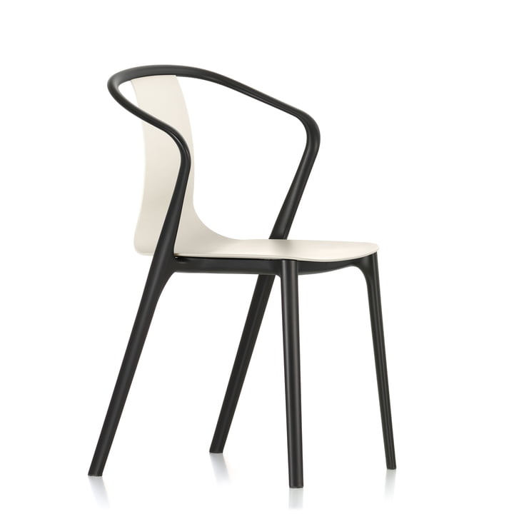 Belleville Armchair Plastic by Vitra in jet black/cream