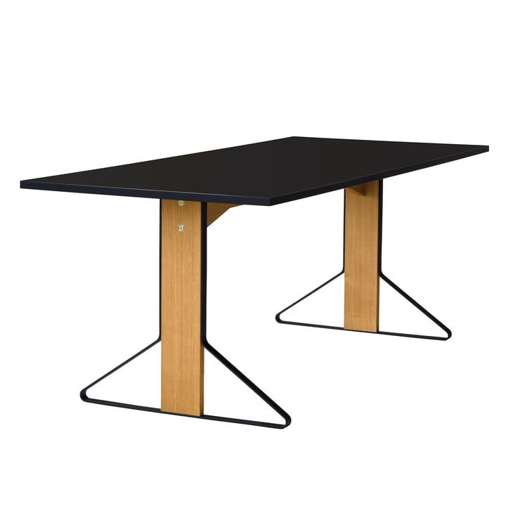 REB 001 Kaari Table 200 x 85 cm by Artek in high-gloss black made of natural oak