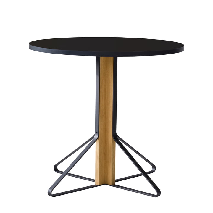 REB 003 Kaari Table Ø 80 cm by Artek in high-gloss black made of natural oak