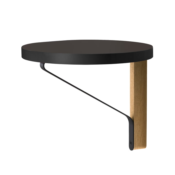 REB 009 Kaari Wall Shelf Ø 35cm by Artek in black made from natural oak