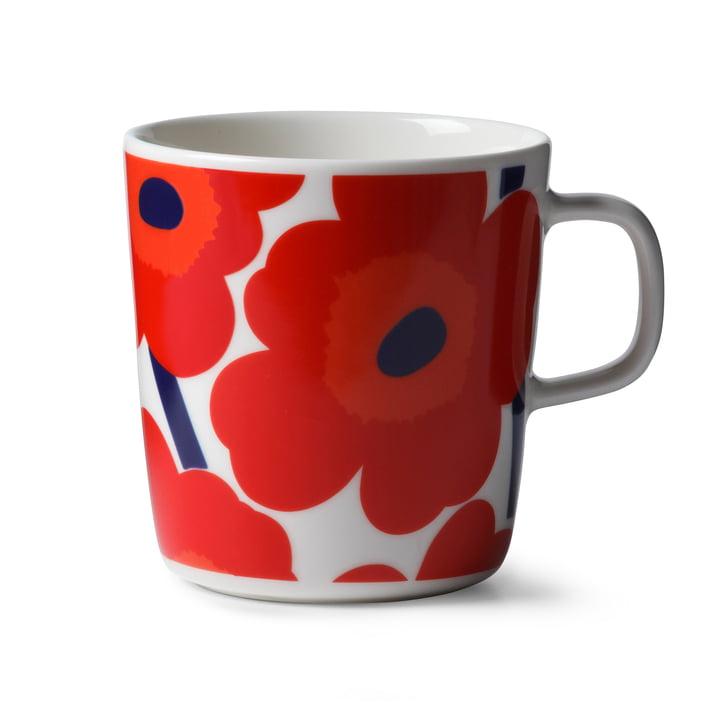 Marimekko - Oiva Unikko Cup with handle, 400 ml, white / red