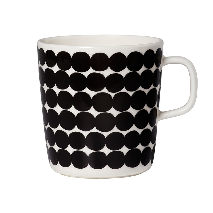 Oiva Räsymatto Cup with Handle 400 ml by Marimekko in Black / White