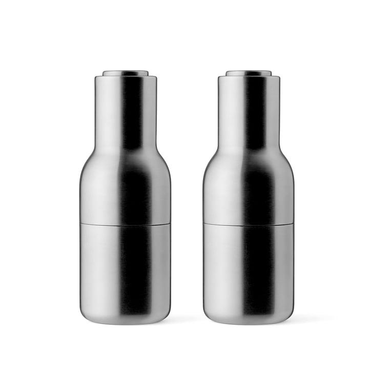 Menu - Bottle Salt and Pepper Grinder Set, brushed stainless steel