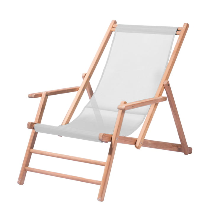 Jan Kurtz - Deckchair teak, white fabric